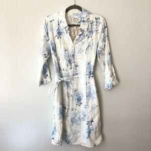 Malvin Shirt dress Linen floral Button down belt M